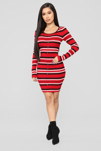 Give Me Love Sweater Dress - Red/Combo
