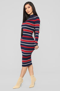 Better Off Sweater Dress - Navy/Red