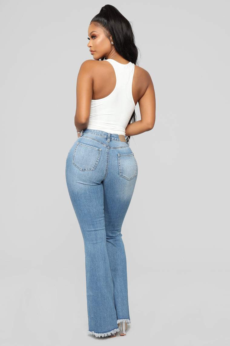 Nothing But The Best Flare Jeans - Medium Blue Wash