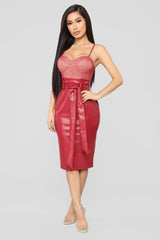 His Latest Upgrade Pu Dress   Red by Fashion Nova