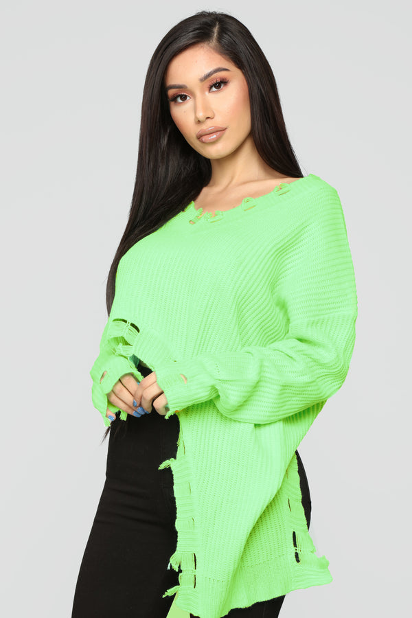 9544c7883ef With Cautions Sweater - Neon Green