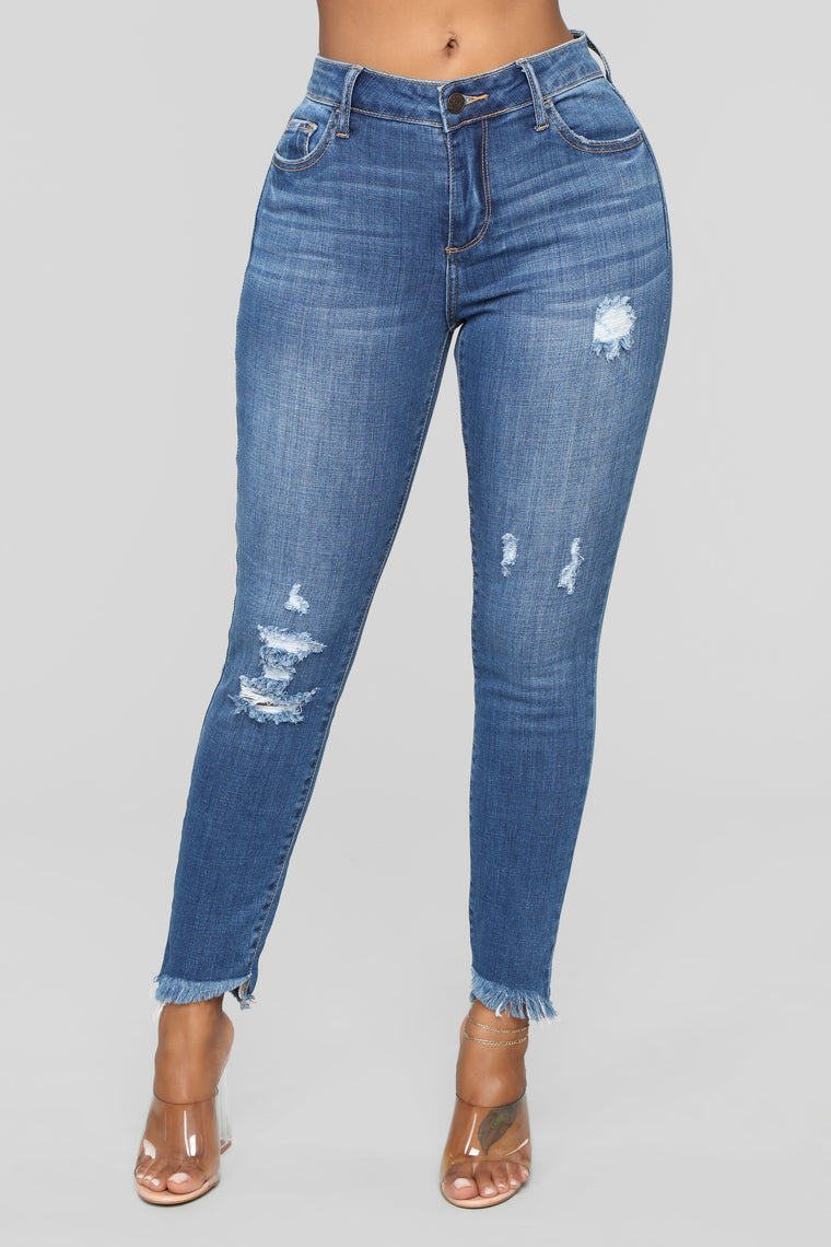 Melina Distressed Ankle Jeans - Dark Denim