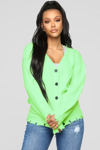 Need Attention Sweater - Neon Green Angle 1