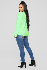 Need Attention Sweater - Neon Green Angle 4