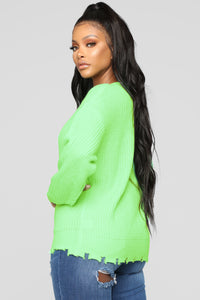 Need Attention Sweater - Neon Green Angle 3