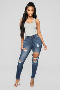 Mariah Distressed Ankle Jeans - Dark Denim Angle 2