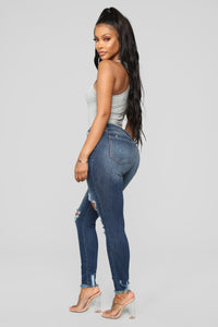 Mariah Distressed Ankle Jeans - Dark Denim Angle 4