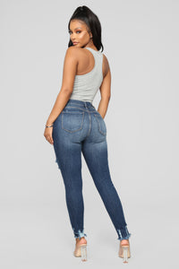 Mariah Distressed Ankle Jeans - Dark Denim Angle 6
