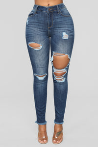 Mariah Distressed Ankle Jeans - Dark Denim Angle 1