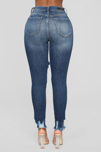 Mariah Distressed Ankle Jeans - Dark Denim Angle 5