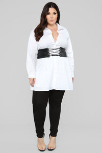Set In Her Ways Corset Shirt Dress - White Angle 6