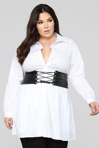 Set In Her Ways Corset Shirt Dress - White Angle 5