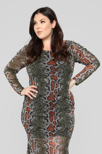 She Will Steal Your Man Snake Dress - Olive/Combo