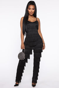 Fringe Binge Pant Set - Black