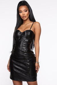 Feeling Feisty PU Mini Dress - Black Angle 2