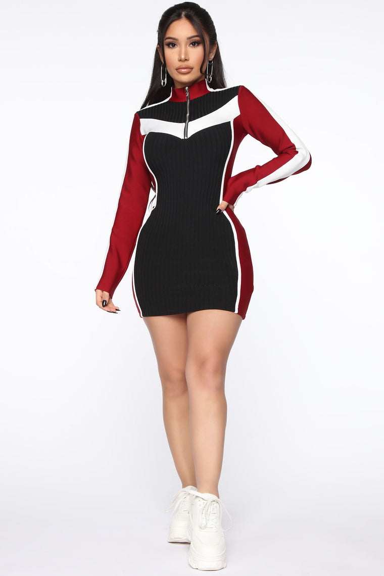 Bring The Action Bandage Mini Dress - Red/combo