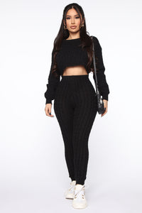 Sweater Sweetie Pant Set - Black Angle 1