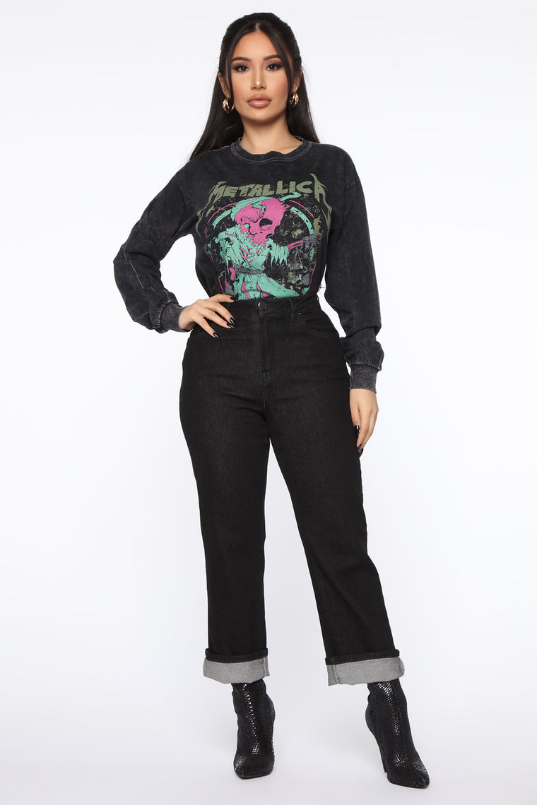 Metallica Mineral Wash Long Sleeve Top - Black Wash