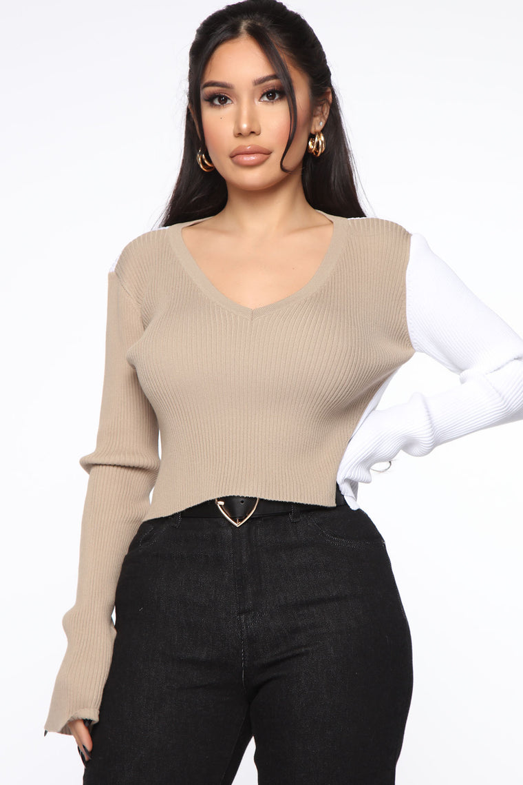All Day Everyday Colorblock Sweater - Mocha