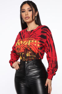 The Doors Hollywood Bowl Long Sleeve Top - Red/Black Angle 3