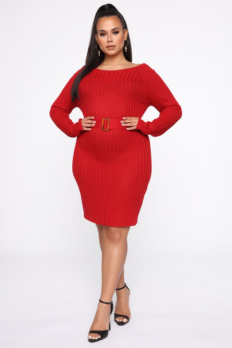 Waist Cinchin' Midi Sweater Dress - Red