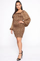 Favorite Love Song Smocked Mini Dress - Brown/Combo