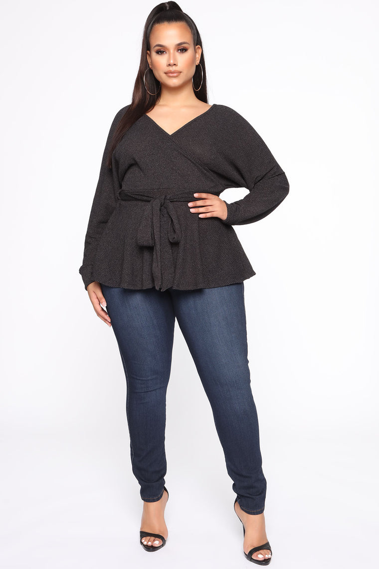 Wrap It Up Surplice Top - Charcoal
