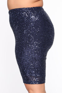 Shinin' Sequin Biker Short Set - Navy - Navy