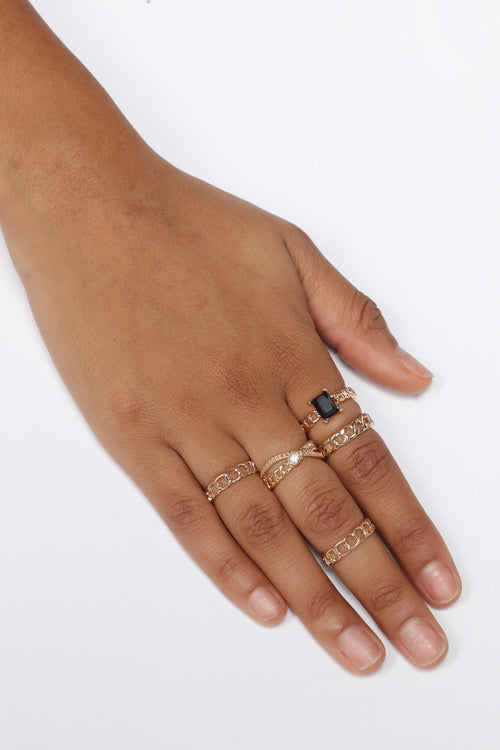 Abe Linkin Chain Ring Set - Gold