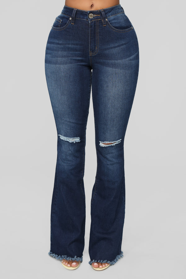 b5dc4eee2f9 Hanging With The Best Flare Jeans - Dark Denim