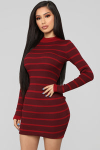 Just Sink In Sweater Midi Dress - Burgundy