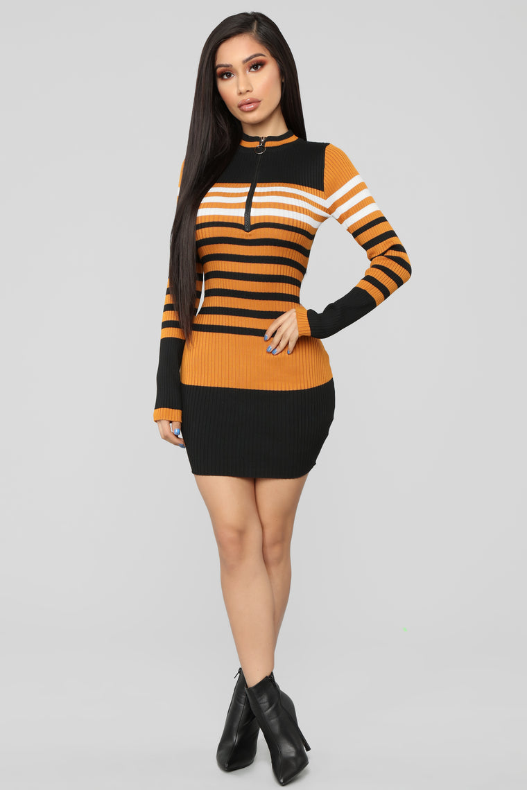 Everything I Am Sweater Midi Dress - Mustard