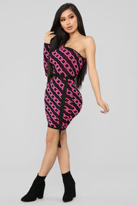 Forever Bright One Shoulder Sweater Dress - Neon Pink