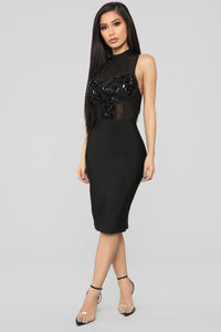 Broken About The Breakup Bandage Dress - Black