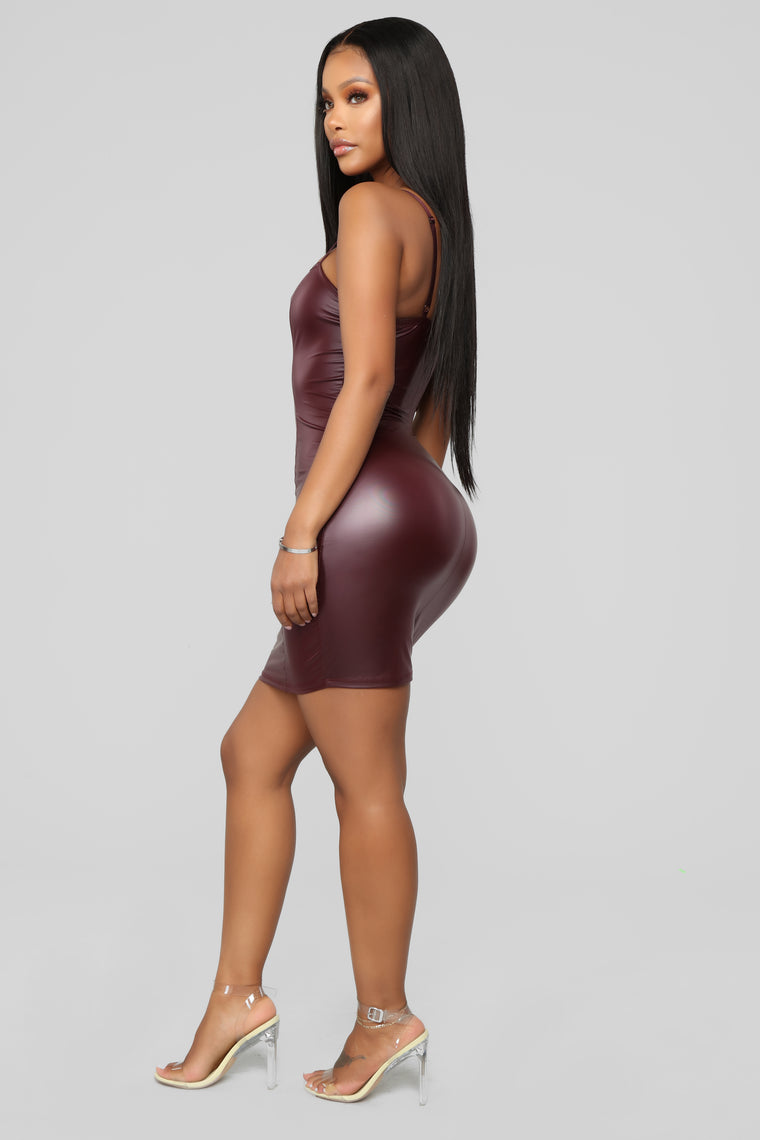 Stick To The Game PU Mini Dress - Burgundy