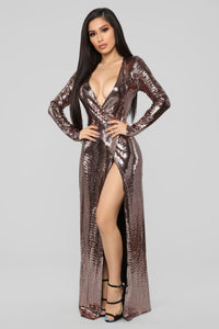 Disco Dreams Metallic Dress - Bronze
