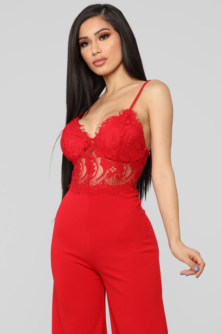Roof Top Date Lace Jumpsuit - Red