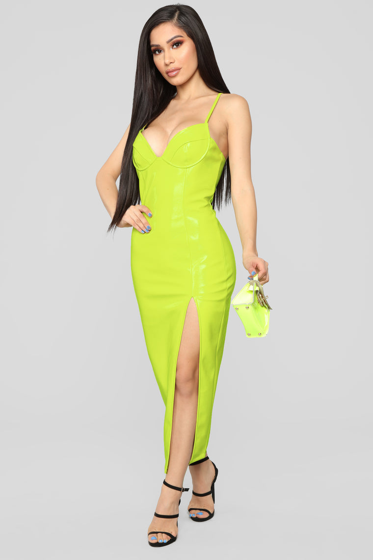 Maybe Baby Slit Midi Dress - Neon Yellow