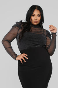 Shimmer On Puff Sleeve Top - Black