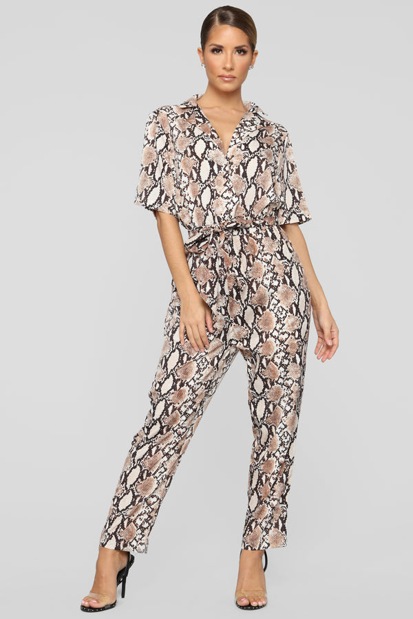 638662f83a7 Cold Blooded Cutie Snake Print Jumpsuit - Brown Snake