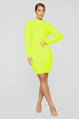 Warm At Night Fuzzy Sweater Dress   Neon Yellow by Fashion Nova