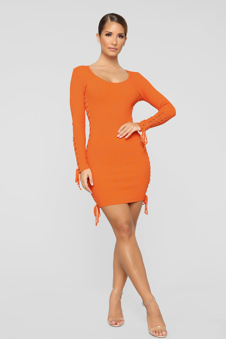 Pull Some Strings Sweater Dress - Orange