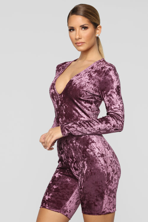 I Like Stunting Velvet Romper - Purple