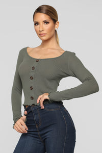 Seeking Love Top - Olive Angle 1