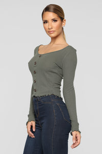 Seeking Love Top - Olive Angle 3