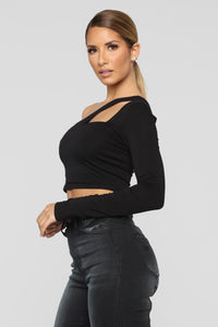 Cut Out One Shoulder Top - Black