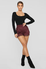 After The After Party Faux Suede Shorts   Plum by Fashion Nova