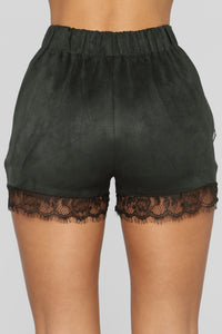 After The After Party Faux Suede Shorts - Olive