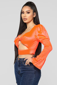Taking Shortcuts Cropped Top - Neon Orange Angle 3