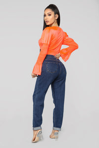 Taking Shortcuts Cropped Top - Neon Orange Angle 5
